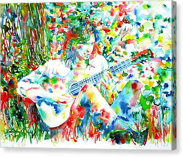 Nick Drake Playing The Guitar Under A Tree Watercolor Portrait Canvas Print by Fabrizio Cassetta