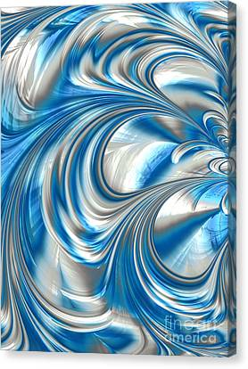 Metalic Canvas Print - Nickel Blue Abstract by John Edwards