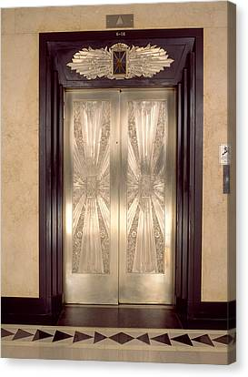 Nickel Metalwork Art Deco Elevator Canvas Print by Panoramic Images