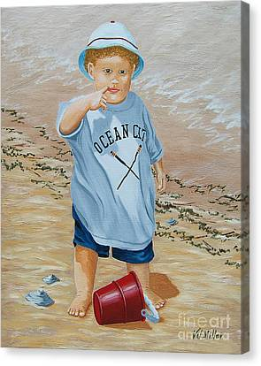 Canvas Print featuring the painting Nicks Red Bucket by Val Miller