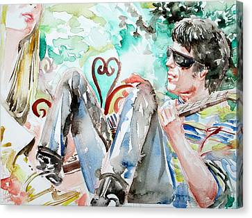 Concert Images Canvas Print - Nico And Lou Reed Watercolor Portrait by Fabrizio Cassetta