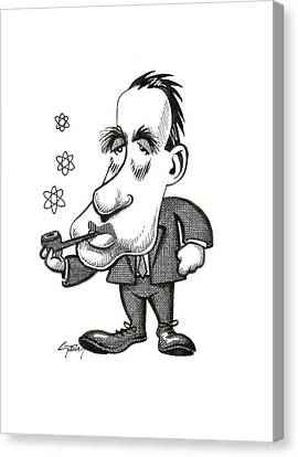 Electron Orbital Canvas Print - Niels Bohr, Caricature by Science Photo Library