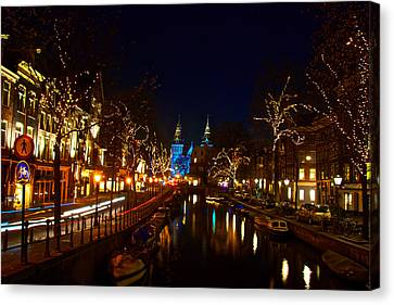 Nieuwe Spieglestraat At Night Canvas Print by Jonah  Anderson