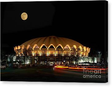night and moon WVU basketball arena Canvas Print by Dan Friend