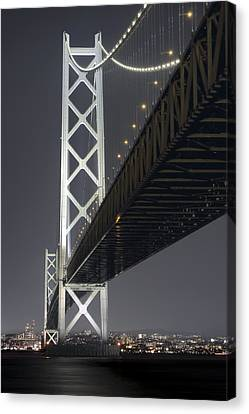 Night At Akashi Kaikyo Bridge Canvas Print by Daniel Hagerman