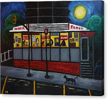 Night At An Arlington Diner Canvas Print by Victoria Lakes