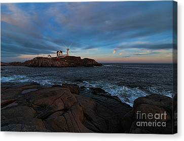 Night At Nubble Light Canvas Print by Sharon Seaward