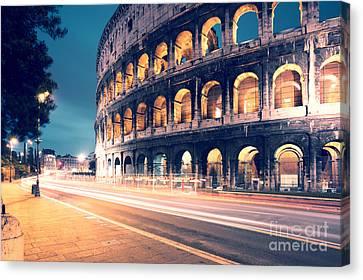 Night At The Colosseum Canvas Print by Matteo Colombo