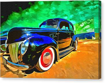 Night At The Drive In Canvas Print by L Wright
