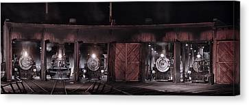 Night At The Durango Roundhouse Canvas Print by Ken Smith