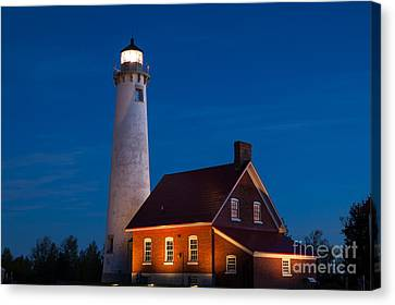 Night At The Lighthouse Canvas Print
