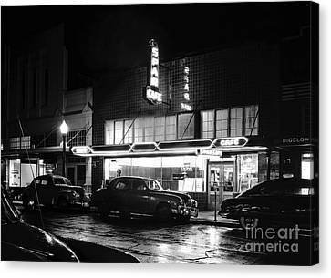 Night At The Spar Cafe At Night 1950 Canvas Print