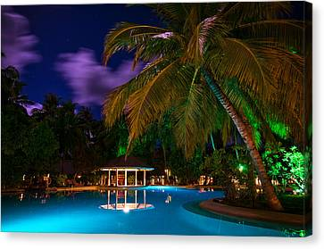 Night At Tropical Resort Canvas Print by Jenny Rainbow