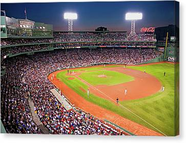 Fenway Canvas Print - Night Baseball Game At Historic Fenway by Panoramic Images