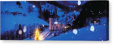 Snowy Night Canvas Print - Night Bavaria Maria Gern Germany by Panoramic Images