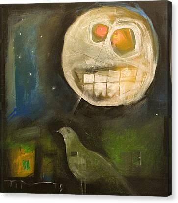 Night Bird Harvest Moon Canvas Print by Tim Nyberg