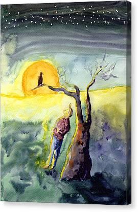 Night Bird Omen Canvas Print
