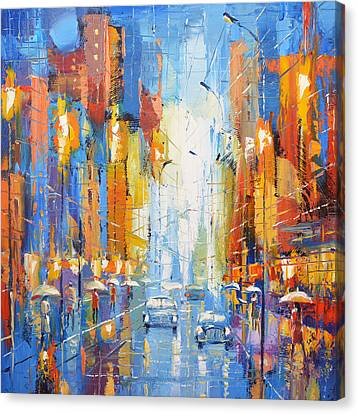 Canvas Print featuring the painting Night Boulevard by Dmitry Spiros
