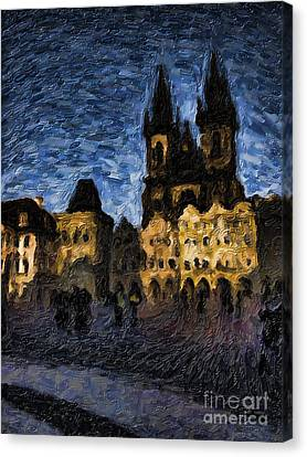 Night Castle Canvas Print by Andreas Konstantinidis
