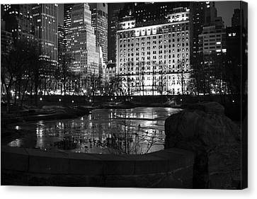 Night Central Park Lake H Canvas Print by Dave Beckerman