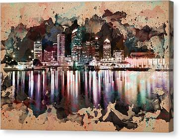 Night City Reflections Watercolor Painting Canvas Print by Georgeta Blanaru