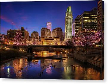Night Cityscape - Omaha - Nebraska Canvas Print by Nikolyn McDonald