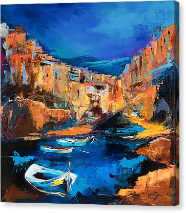 Night Colors Over Riomaggiore - Cinque Terre Canvas Print by Elise Palmigiani