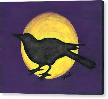 Night Crow On Purple Canvas Print