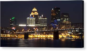 Canvas Print featuring the photograph Night Descends Over Louisville City by Deborah Klubertanz