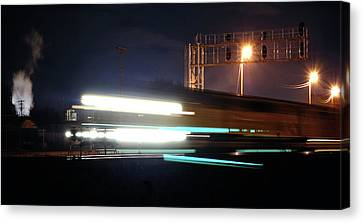 Night Express - Union Pacific Engine Canvas Print by Steven Milner
