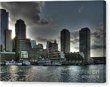 Canvas Print featuring the photograph Night Fall At The Harbor by Adrian LaRoque