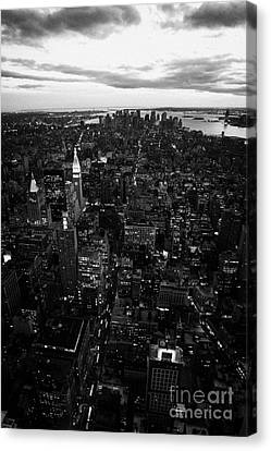 Night Falling Over Lower Manhattan New York City Canvas Print by Joe Fox