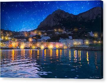 Italian Islands Canvas Print - Night Falls On Beautiful Capri - Italy by Mark E Tisdale