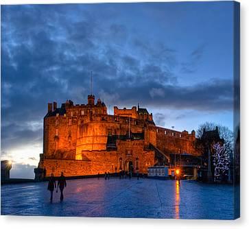 Night Falls On Beautiful Edinburgh Castle Canvas Print by Mark E Tisdale
