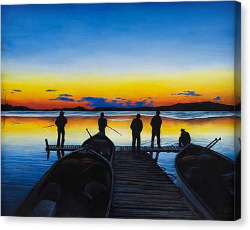 Night Fishing Canvas Print by Aaron Spong