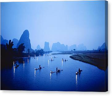 Night Fishing Guilin China Canvas Print by Panoramic Images