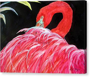 Canvas Print featuring the painting Night Flamingo by Lil Taylor