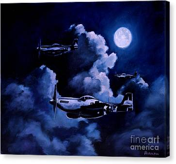Canvas Print featuring the painting Night Flight by Stephen Roberson
