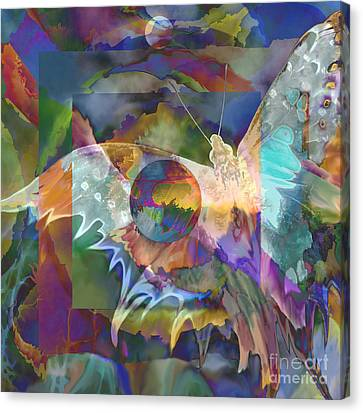 Canvas Print featuring the digital art Night Flight by Ursula Freer