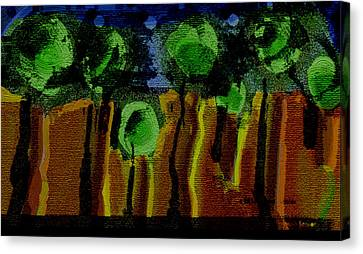 Night Forest Tapestry Canvas Print by Lenore Senior