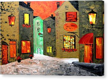 Night In The Town Canvas Print by Mariana Stauffer