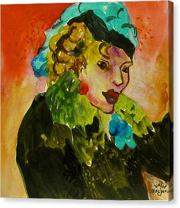 Night Lady Ruby Canvas Print by Carole Johnson