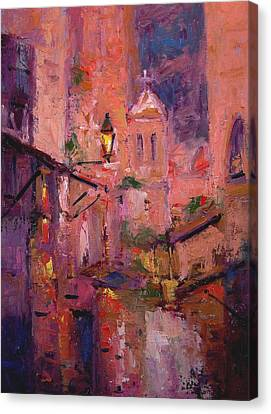 Night Light In Monemvasia Canvas Print by R W Goetting