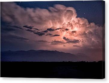 Night Lightning Canvas Print by Cat Connor