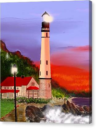 Canvas Print featuring the digital art Night Lights 2 by Anthony Fishburne