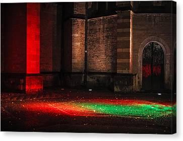 Night Lights In Utrecht. Trajectum Lumen Project. Pieterskerk. Netherlands  Canvas Print