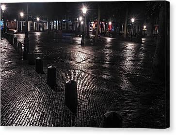 Night Lights Of Utrecht 1. Netherlands Canvas Print by Jenny Rainbow