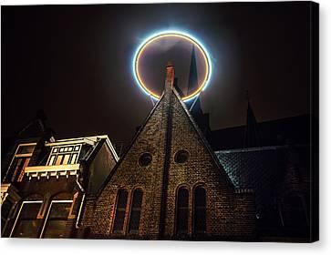 Night Lights Of Utrecht. Halo At Willibrorduskerk. Netherlands Canvas Print by Jenny Rainbow