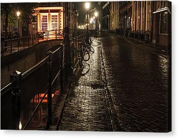 Night Lights Of Utrecht. Netherlands Canvas Print by Jenny Rainbow