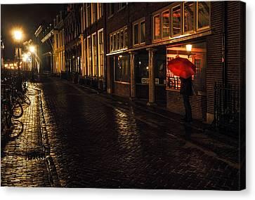 Night Lights Of Utrecht. Orange Umbrella. Netherlands Canvas Print by Jenny Rainbow